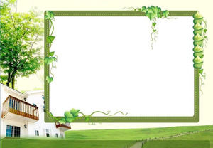 Grass and green vines background PPT courseware background picture