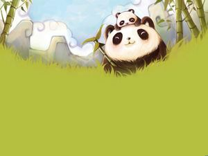 Green bamboo pandas and panda PPT background pictures