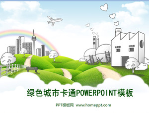 Green city home PPT template download
