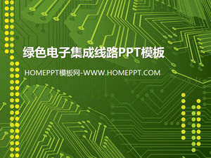 Green electronic integrated line background PPT template