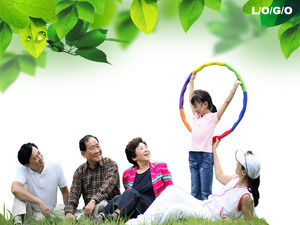 Green Korean family PPT template download