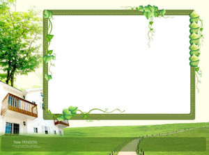 Green Plant Cartoon PPT Background Template
