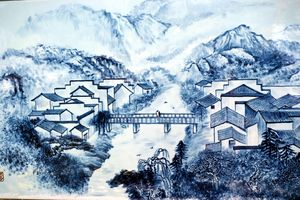 Ink and ice emblem architecture landscape map PPT background picture