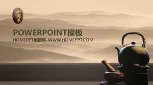 Ink and water landscape sand tea Chinese style PPT template