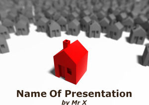 Isolated Red House powerpoint template