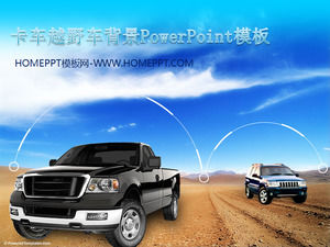 Pickup truck with off-road vehicle background car slide template download