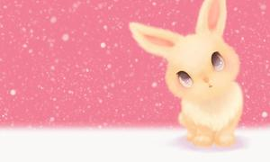 Pink cute little rabbit PPT background picture
