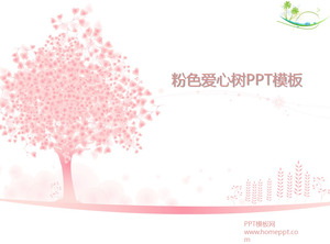 Pink love tree background PowerPoint template download