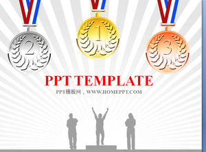 Podium and medal background sports games PPT template download