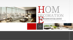 Red gray decoration effect map background decoration company introduction PPT download