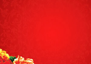 Red rich peony new year slide background picture