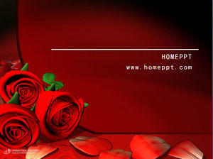 Red rose love PPT background picture