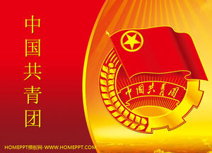Red troupe background of the Chinese Communist Youth League PPT template