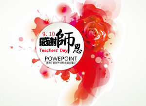 Rose ink 2014 Teacher's Day ppt template