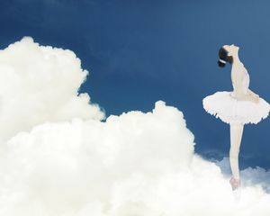 Sky girl dancing in PPT background picture