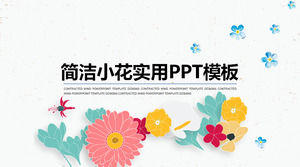 Small fresh vector floral background art PPT template