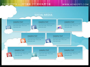 Social network background of the blue sky and white clouds PPT text box material