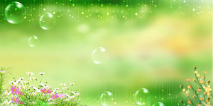 Stars blisters flowers green PPT background pictures