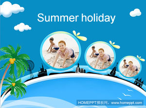 Summer vacation seaside vacation travel PPT template download