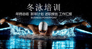 Swimming winter swimming PPT template, sports PPT template download