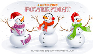 Three cute snowman backgrounds with Christmas PPT templates