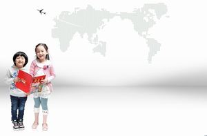 Two hands holding promotional materials of children PPT background pictures
