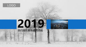 Winter forest on the background of the generic business PPT template